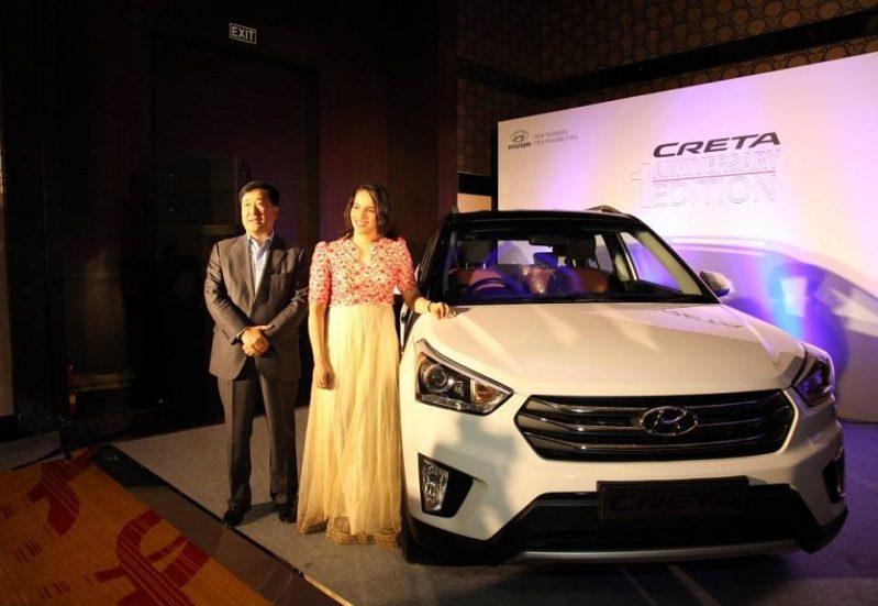 Hyundai Creta Anniversary Edition and Saina Nehwal at Launch Event